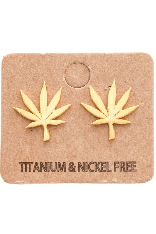 Cannabis Leaf Stud Earrings - Gold, Anarchy Street - Gingerly Witty