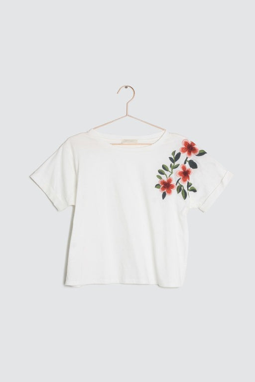 Lola embroidered boxy tee - ivory; A cropped fit boxy fit tee with floral embroidery at shoulder with a tacked detail.; all row; gingerly witty