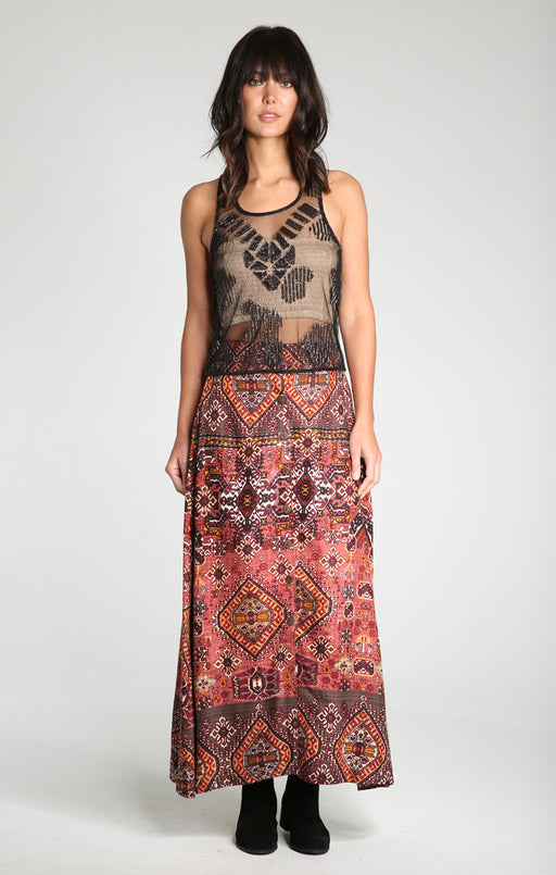 Rustic Woodland Button-Down Maxi Skirt Raga, Gingerly Witty