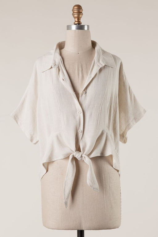 Natural Woman Tie Front Top - Oatmeal; Gingerly Witty