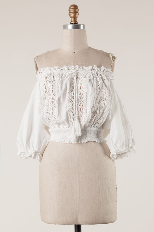 Beatrice Crochet Top - White, Fascination - Gingerly Witty