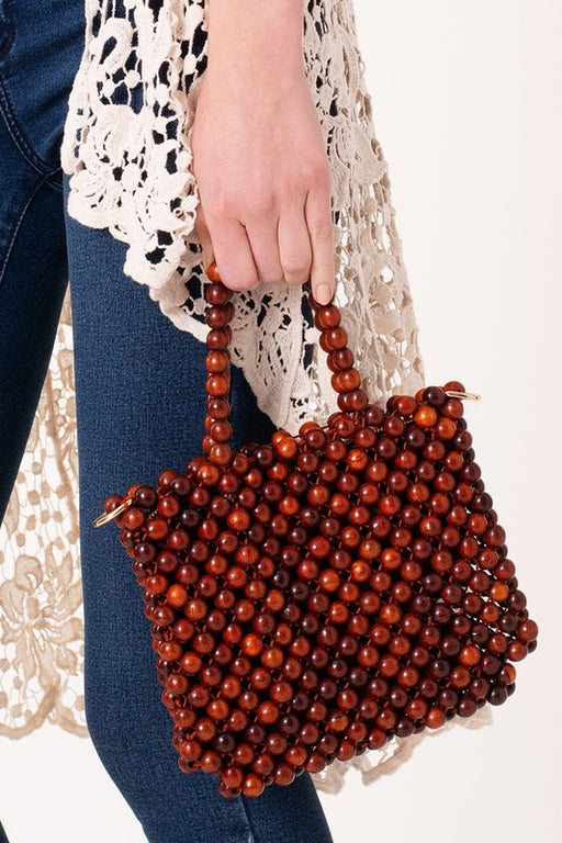 Wooden Beaded Crossbody Bag - Brown; Gingerly Witty