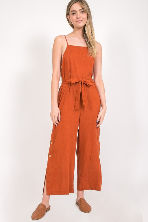 Malibu Button-Down Jumpsuit - Rust; Gingerly Witty