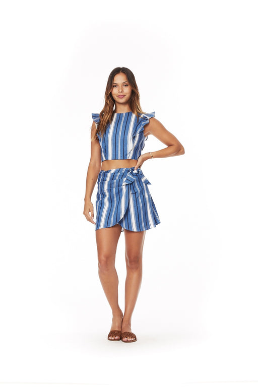 Two Harbors Wrap Skirt - Blue/White Stripe; Lost + Wander; Gingerly Witty