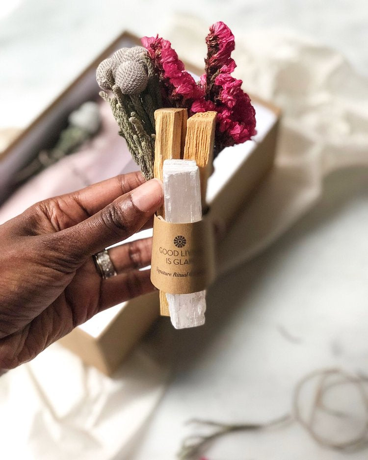 *PRE-ORDER* Self Care Bundle - Palo Santo with Selenite Boost, Good Living is Glam - Gingerly Witty