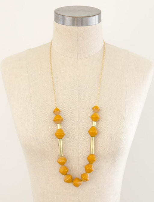 Karis Chunky Scoop Necklace - Mustard; 31Bits; Gingerly Witty