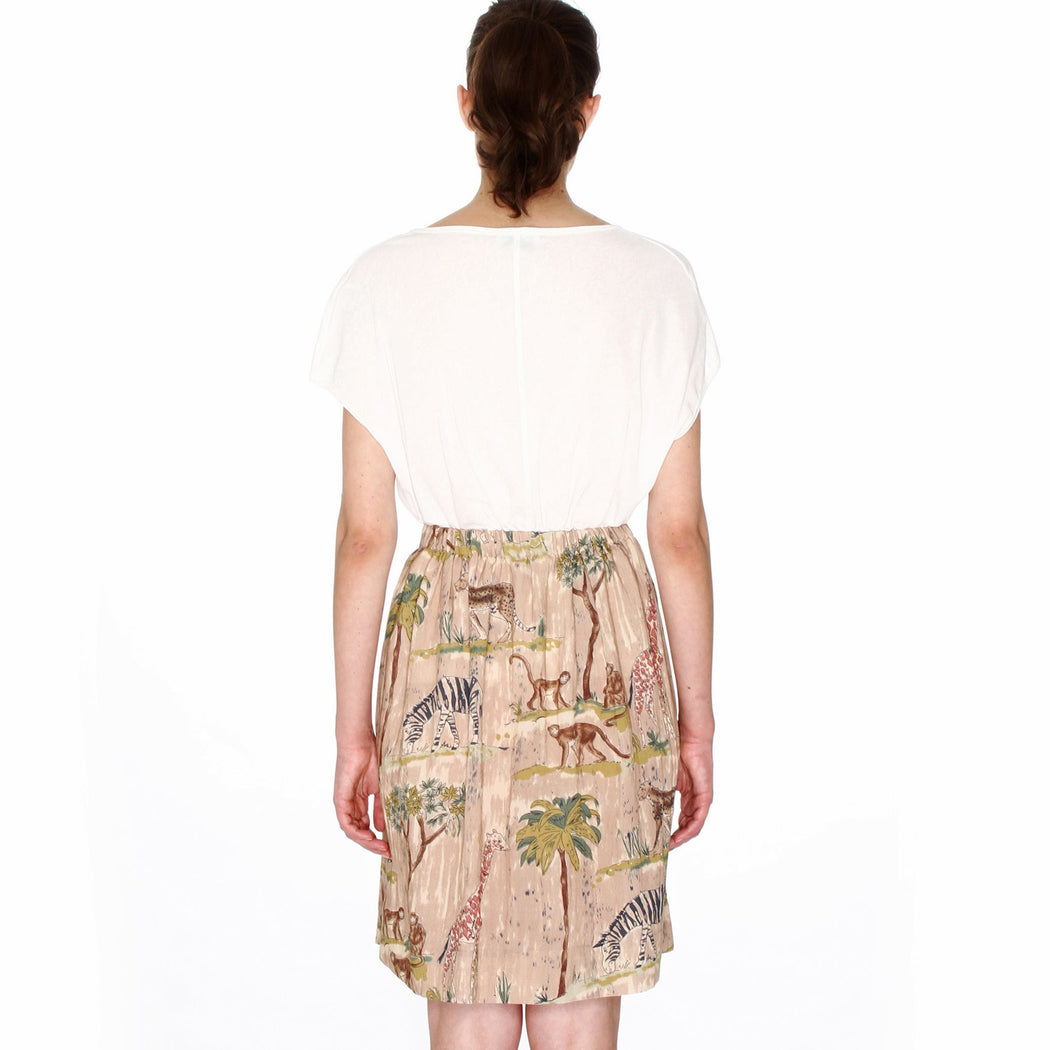 Safari Print Buttoned Knee Length Skirt, Pepaloves - Gingerly Witty