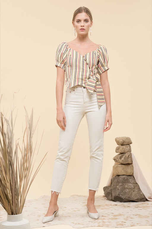 Hotel California short sleeve button front wrap top in multi-color stripe.; Moon River; Gingerly Witty