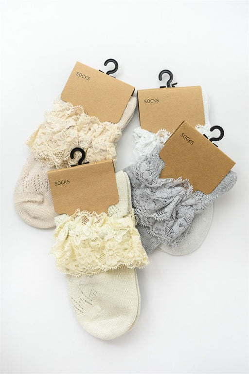Lace Ankle Socks - Assorted; Gingerly Witty