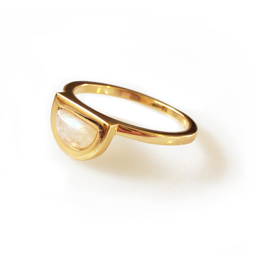 18k gold plated brass with moonstone half moon; Elizabeth Stone Jewelry; Gingerly Witty; stacking ring with gemstone