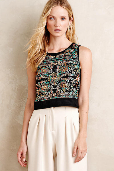 Floral Motif Embroidered Cropped Tank - L