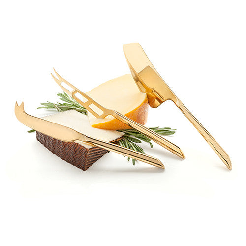 Metallic Gold Plated Knife Set, Viski - Gingerly Witty