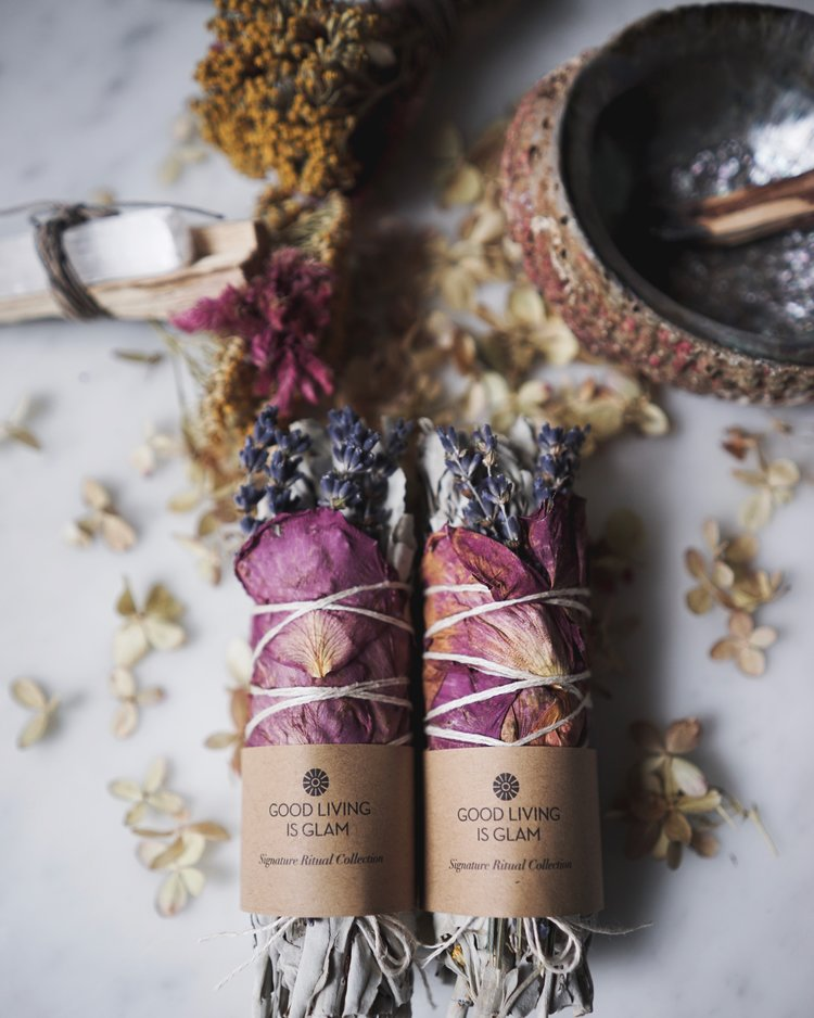 *PRE-ORDER* Self Care Bundle - Floral Sage Smudge Stick with Rose Petals & Lavender, Good Living is Glam - Gingerly Witty