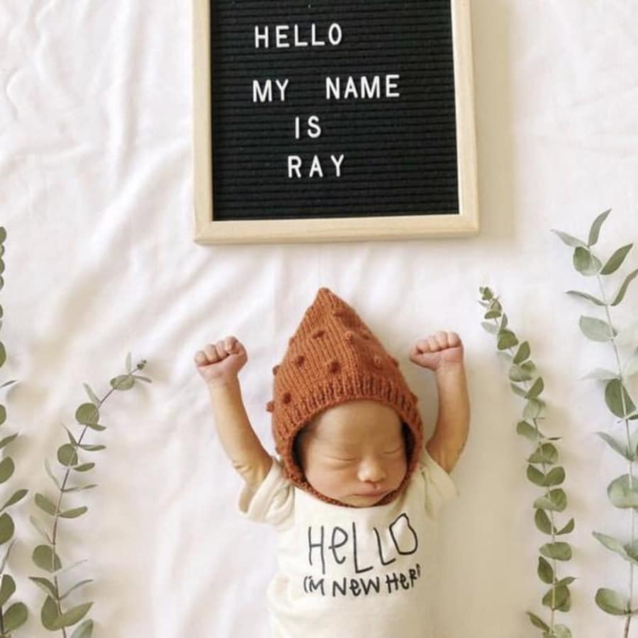 """Hello I'm New Here"" Short Sleeve Onesie - Cream, Tenth & Pine - Gingerly Witty"