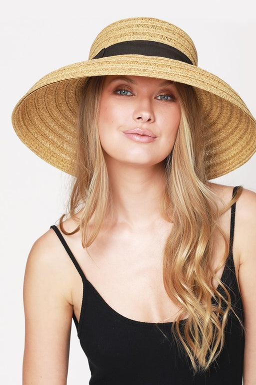 Contrast Ribbon Straw Sun Hat - Light Natural, Urbanista - Gingerly Witty