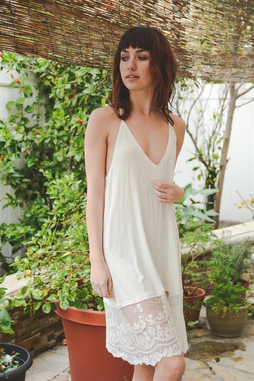 T-Back Midi Lace Slip - Ivory; Gingerly Witty