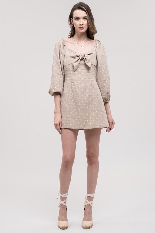 *PRE-ORDER* Dottie Tie-Front Mini Dress - Taupe Dot, j.o.a. - Gingerly Witty