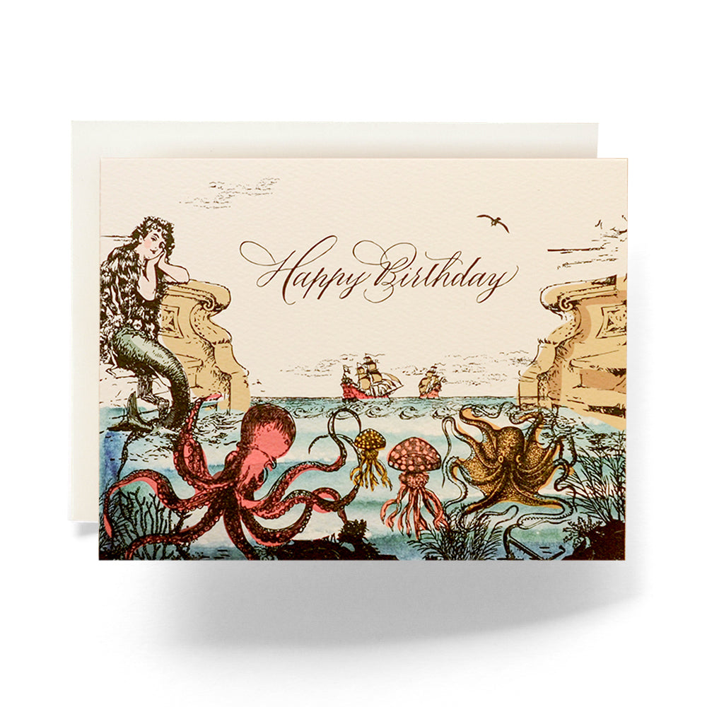 """Happy Birthday"" Sea Odyssey Greeting  Card; Antiquaria; Gingerly WItty"