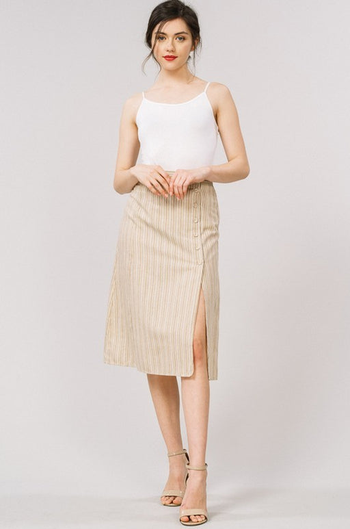 *PRE-ORDER* Stripe Button Side Slit Midi Skirt - Taupe, Cezanne - Gingerly Witty