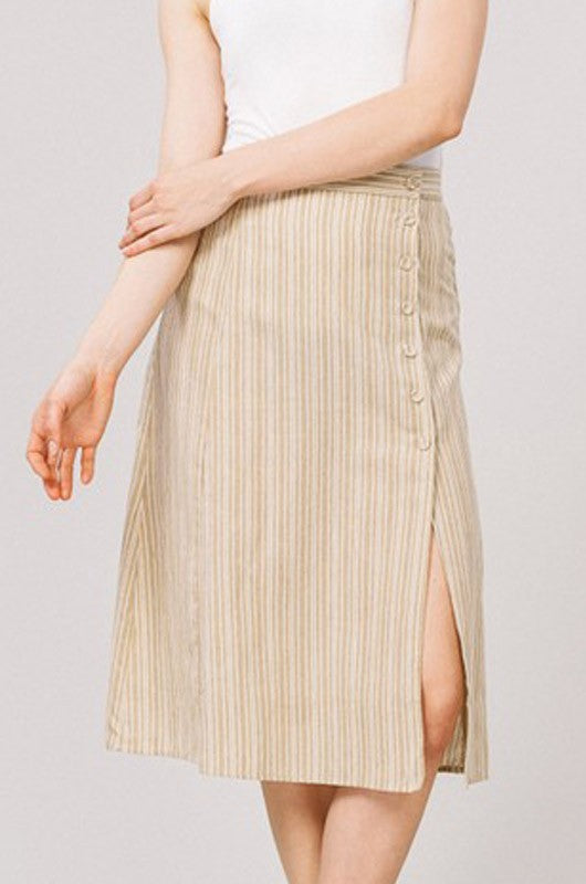 8f11a8043898 Stripe Button Side Slit Midi Skirt - Taupe — Gingerly Witty