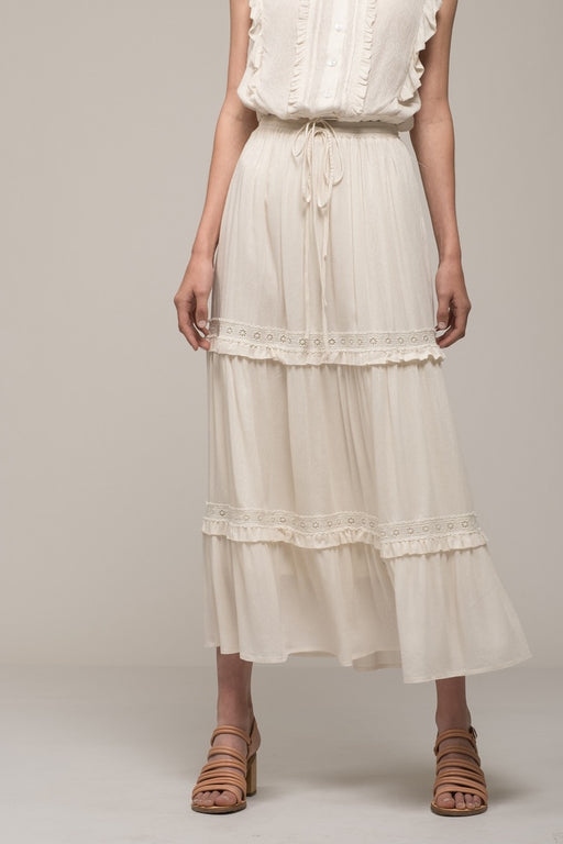 Tiered Peasant Maxi Skirt - ivory; Moon River; Gingerly Witty