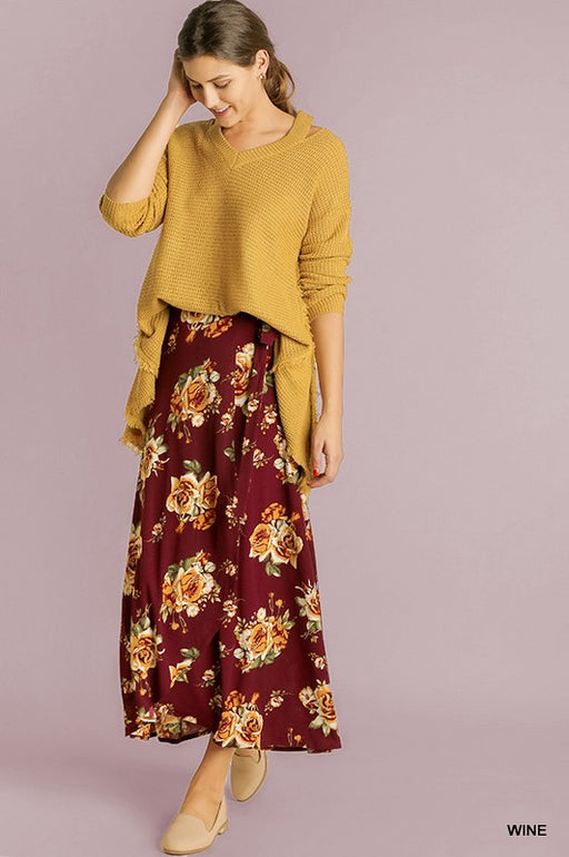 Floral Wrap Maxi Skirt - Maroon Blu Heaven Gingerly Witty
