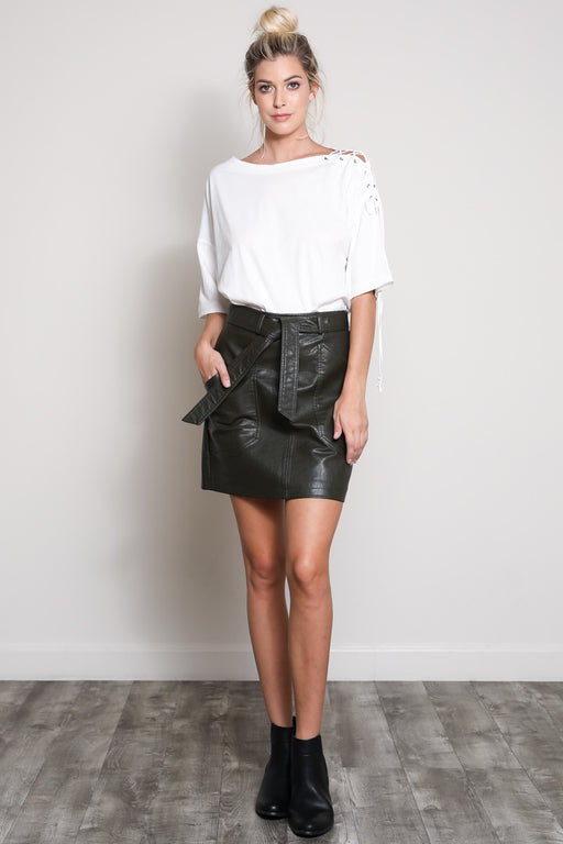 *PRE-ORDER* With The Band Vegan Leather Skirt - Olive, Wishlist - Gingerly Witty