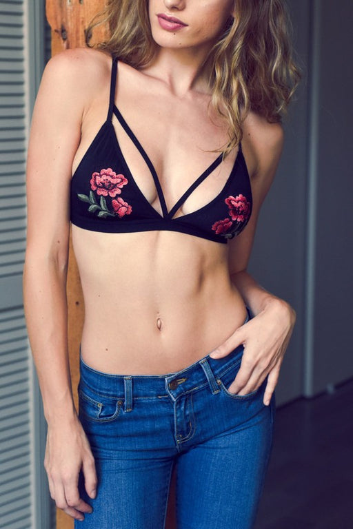 Rose Embroidery Patch Strap Bralette - Noir Black; Gingerly Witty
