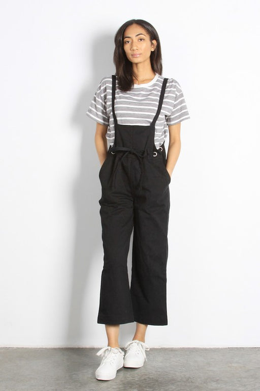 Lockhart Wide Leg Denim Overalls - Black, Mod Ref - Gingerly Witty