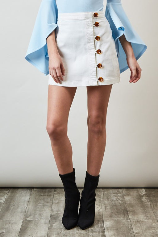 Side Button Denim Skirt - Off-White; Blue Blush; Gingerly Witty