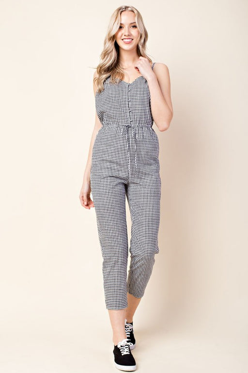 Low-Back Gingham Spaghetti Strap Jumpsuit - Black & White Honey Punch Gingerly Witty