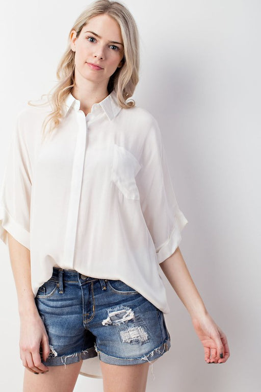 Crepe button-down hidden slit roll-up sleeve woven top in ivory; Mittoshop; Gingerly Witty