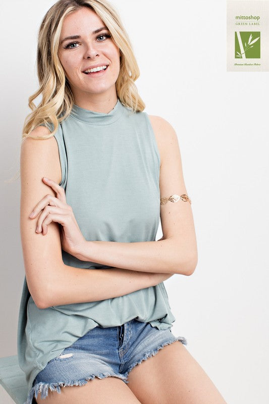 Bamboo Mock Neck Sleeveless Top - Wood Sage; Mittoshop; Gingerly Witty