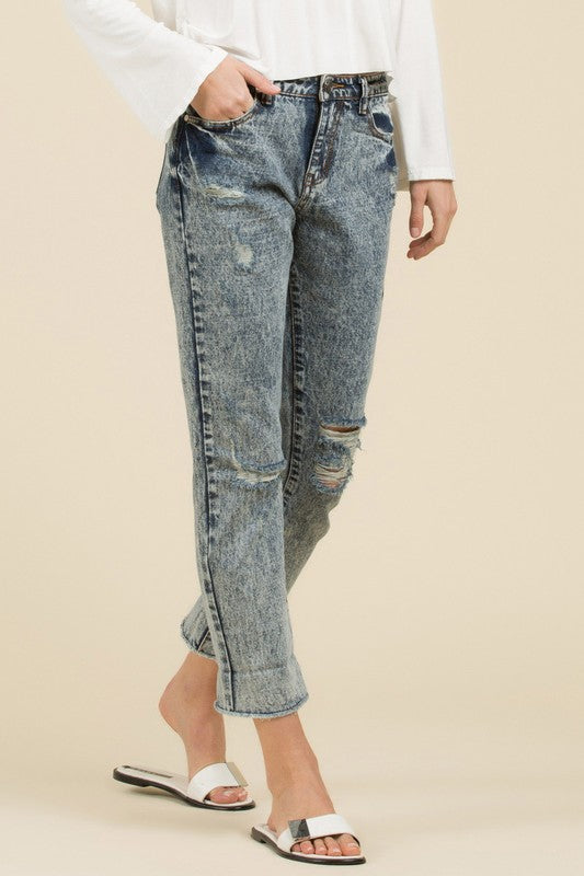 Acid Wash Straight Fit Jean - Mid-Blue, POL - Gingerly Witty