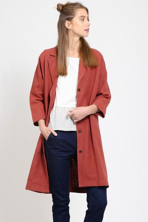 Linen/cotton blend medium length duster jacket in red brick color. ; Very J; Gingerly Witty