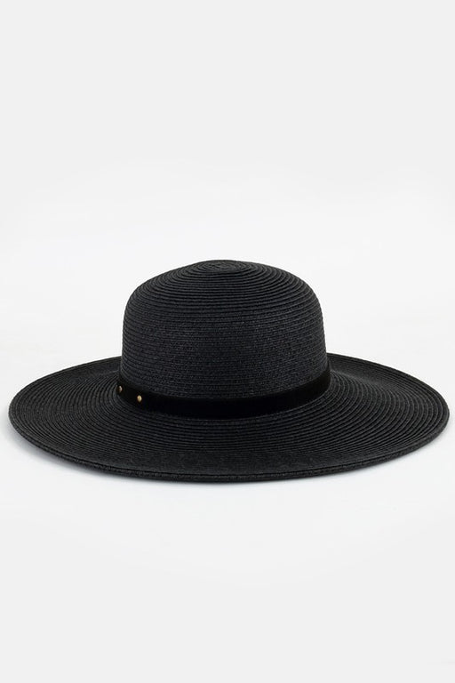 Wide Brim Straw Sun Hat - Black; Urbanista; Gingerly Witty