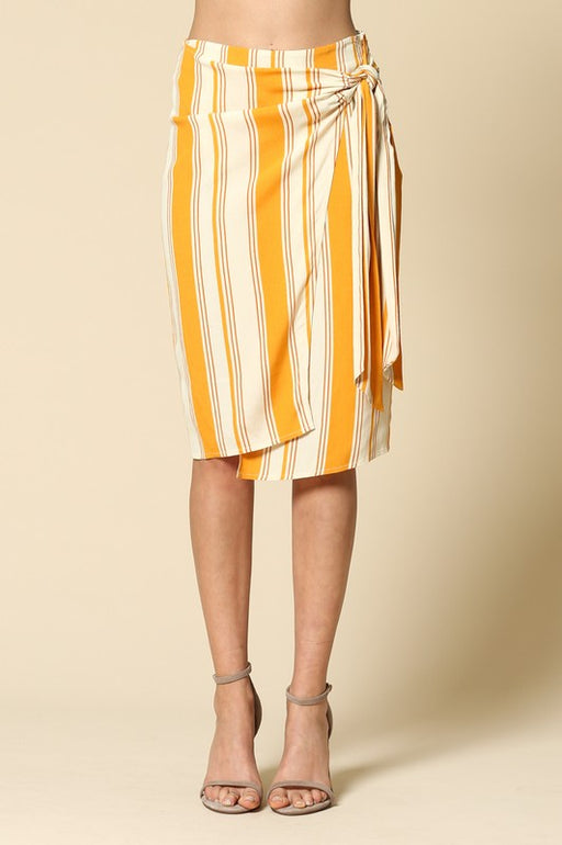 Multi-width mustard yellow vertical stripe print high-waisted tie front mid length skirt by LA label By Together; Gingerly Witty