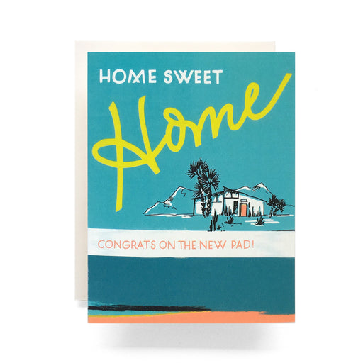 """Home Sweet Home; Congrats on the new pad!""; retro housewarming greeting card; Antiquaria; Gingerly Witty"