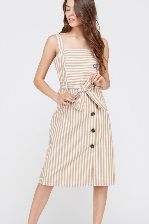 *PRE-ORDER* Striped Apron Dress - Caramel with Ivory, Trend Shop - Gingerly Witty