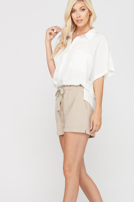 Willy Crepe Button-Down Top - Ivory; Wishlist; Gingerly Witty