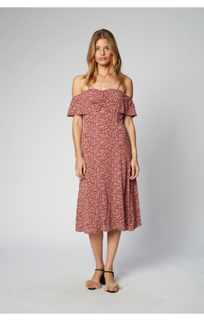 Dandelion Dreams floral print, off-the-shoulder midi dress, Flynn Skye, Gingerly Witty