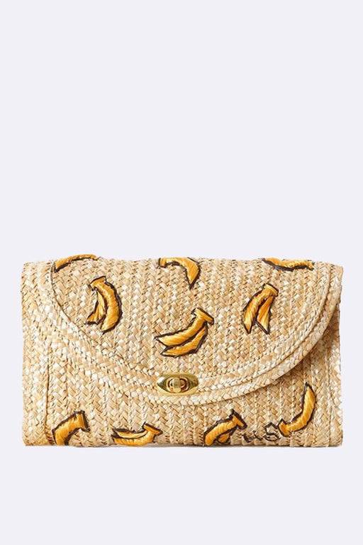 raffia straw clutch bag features embroidered yellow bananas ; Gingerly Witty