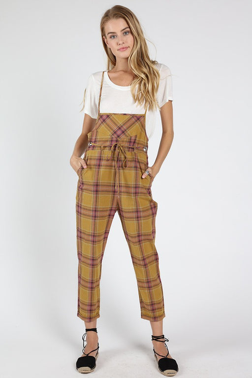 Stand for Plaid Jumpsuit - kiwi; Lightweight linen-cotton blend jumpsuit featured in a plaid design in a vibrant kiwi-green color.  Tie-waist Spaghetti straps Back pockets Slouchy silhouette; Wild Honey; Gingerly Witty
