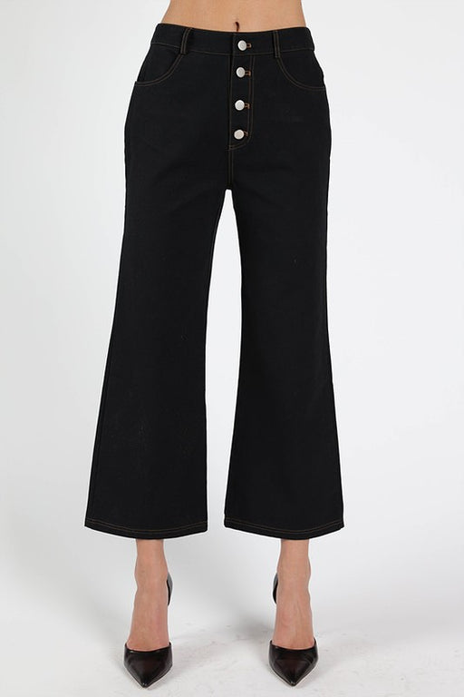 Angeleno Cropped Flare Pant - Black, Wild Honey - Gingerly Witty