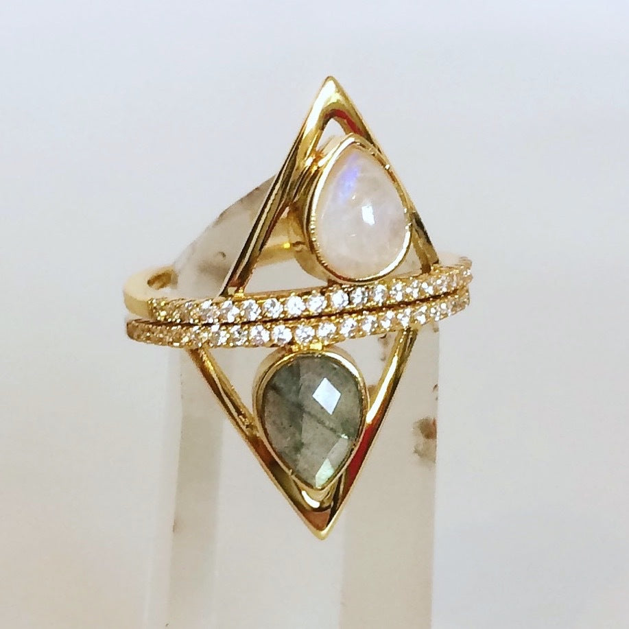 Pave Triangle Ring in Metallic Gold. - size 6 (also in 7) Elizabeth Stone WQRecb2f5l