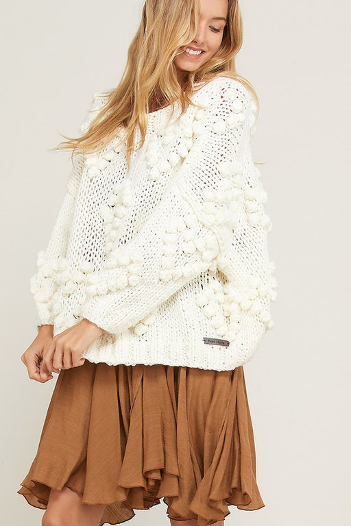 Heart and Soul Handmade Sweater - Cream; knotted heart pattern pullover; Wishlist; Gingerly Witty