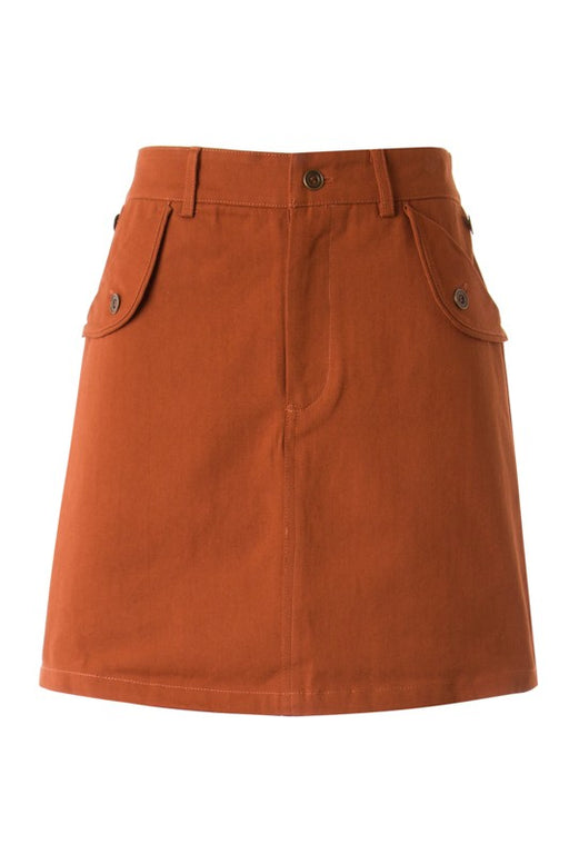 High rise waist, front button and zipper, pocket flaps, woven skirt with side pockets. Pairs well with a graphic tee and booties or dress it up with a collared blouse for a more polished look. ; Gingerly Witty