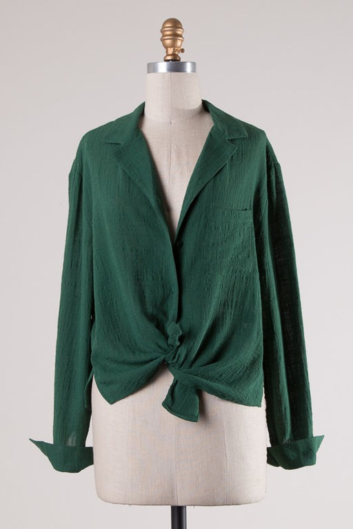 The Trees' Knees Button-Down Top - Emerald; Gingerly Witty