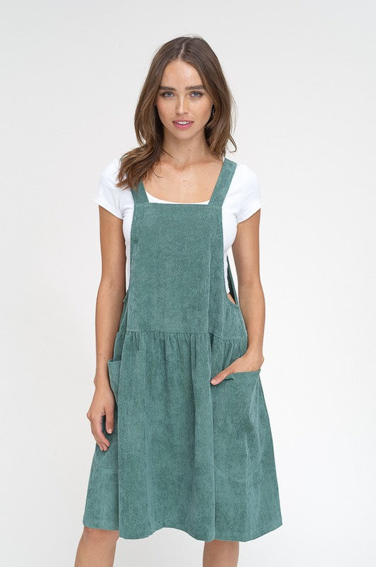 Animal Crackers in my Soup Corduroy Overall Dress - Hunter Green, Listicle - Gingerly Witty