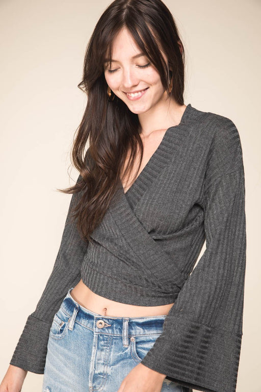 *PRE-ORDER* That's a Wrap Top - Charcoal, Grade & Gather - Gingerly Witty